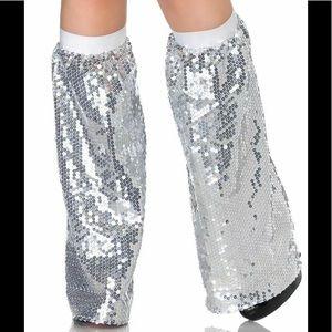 Leg avenue silver sequin leg warmer one size